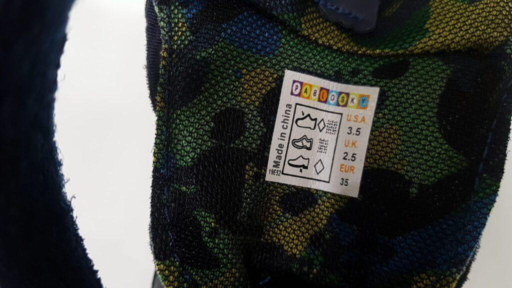 etiquetas de los zapatos ejemplo