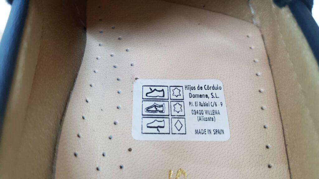 etiquetas de los zapatos ejemplo piel